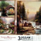 Ceaco Thomas Kinkade 3 in 1 - Collector's Cottage, Stillwater Bridge and Evening In The Forest