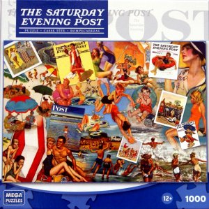 The Saturday Evening Post At The Beach 1000 Piece Puzzle by Norman Rockwell