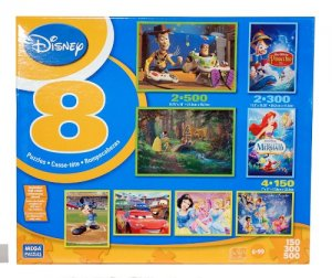 Disney 8 In 1 Multi Pack Boxed Puzzles Featuring Snow White's SWEET GOODBYE & Others