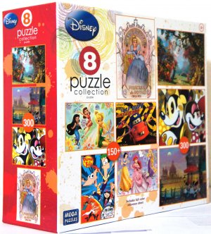 Disney 8 In 1 Puzle Collection Box Set Featuring CINDERELLA and Other Puzzles