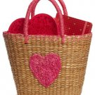 "Pink Rosebud Heart Sea Grass Tote with Pink Fabric Lining (12.5"" x 6"" x 9"")"
