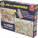 Jan Van Haasteren Seafood Supper & Clash of The Bakers Jigsaw Puzzle (2 x 1000 Piece)
