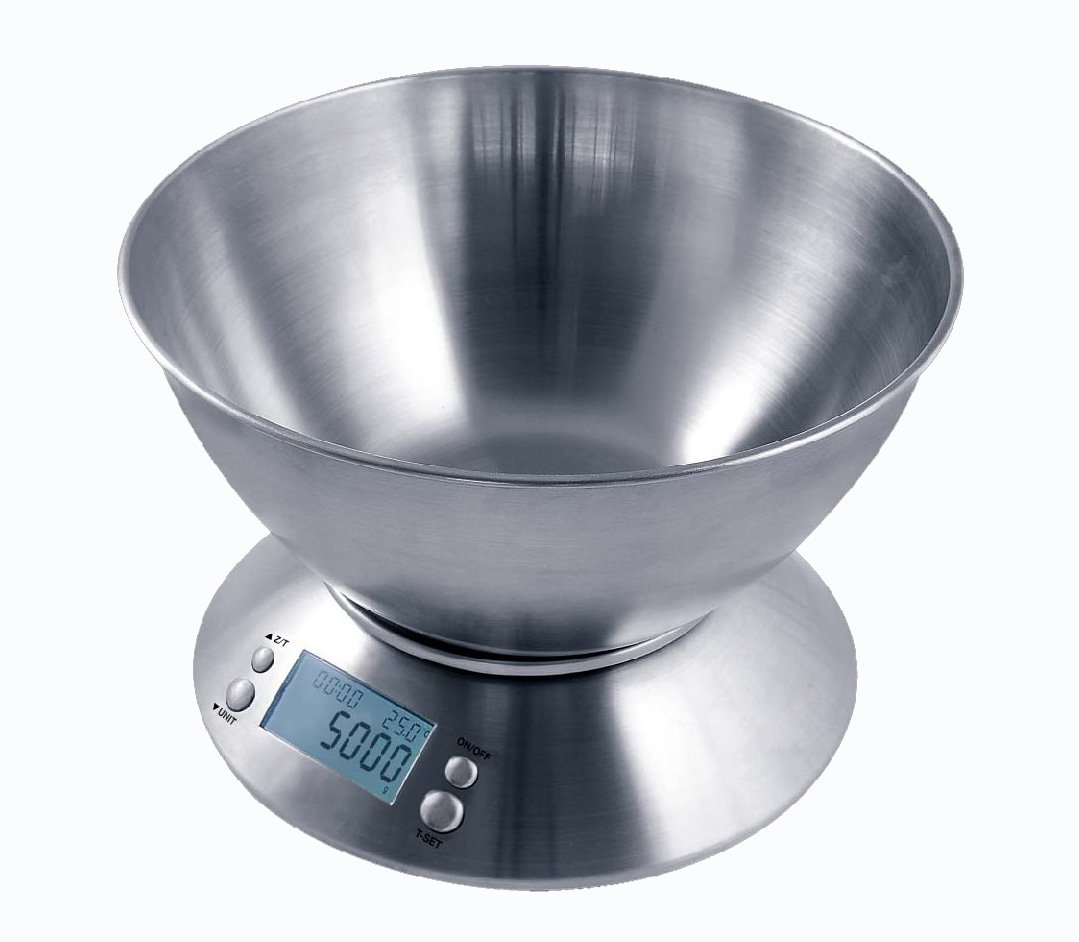 Full Stainless Steel Bowl Balance Digital Kitchen Weight Scale Free Shipping