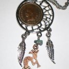 1904 Indian Head Penny Dream Catcher Pendant