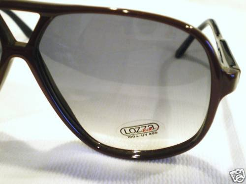 VINTAGE LOZZA USA SUNGLASSES AVIATOR BURGUNDY BLACK
