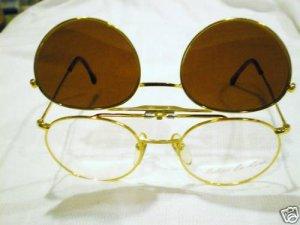 VINTAGE ROBERT LA ROCHE ROUND EYEGLASSES WITH CLIP GOLD