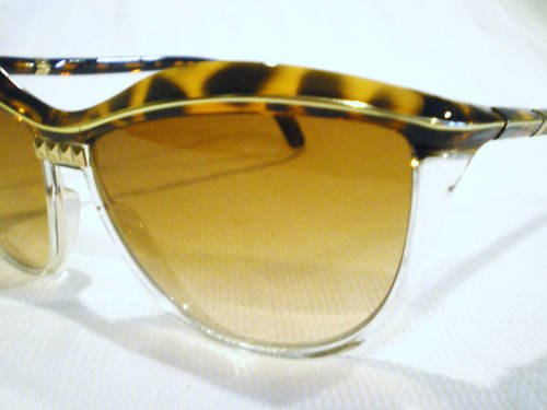 Vintage LEONARD SUNGLASSES FRENCH LEOPARD GOLD CLEAR