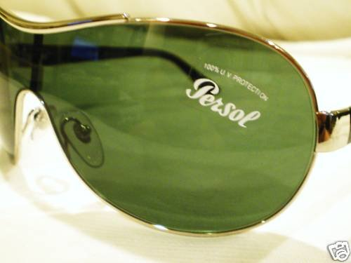 NEW PERSOL AVIATOR SHIELDS SUNGLASSES SILVER LIMITED