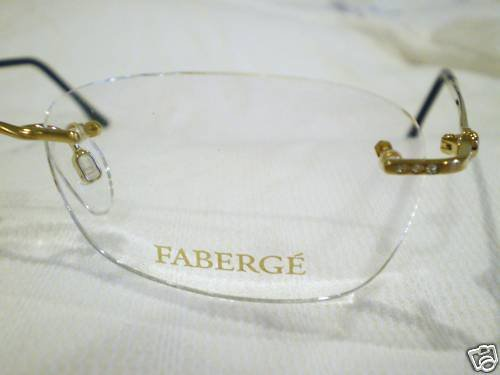 NEW FABERGE 3 PIECE RIMLESS EYEGLASSES GOLD GERMANY