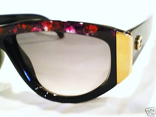 VINTAGE COURREGES SUNGLASSES BLACK BURGUNDY MOD.9207-4