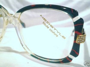 VINTAGE NEOSTYLE EYEGLASSES GREEN RED CLEAR RHINESTONE