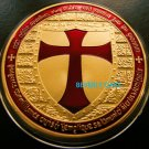 ONE TROY OUNCE .999 24k GOLD CLAD KNIGHTS TEMPLAR COIN