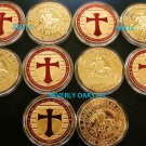 10 - ONE TROY OUNCE 24k GOLD CLAD KNIGHTS TEMPLAR COINS