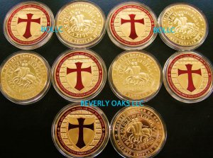 50 - TROY OUNCE 24k GOLD CLAD KNIGHTS TEMPLAR GEM COINS