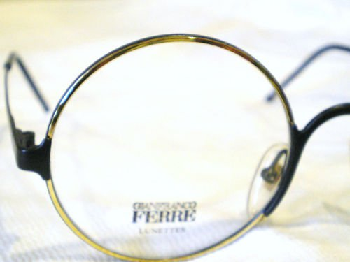 NEW GIANFRANCO FERRE ROUND EYEGLASSES  GOLD BLACK