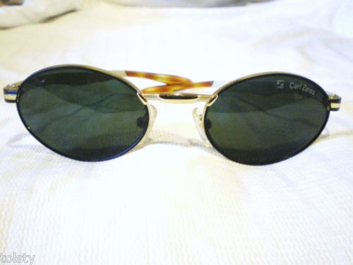 NEW CARL ZEISS Sunglasses GOLD BLACK  SPRING HINGES