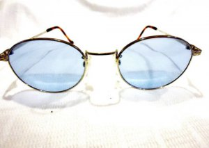 VINTAGE KANSAI SUNGLASSES SILVER 50-20-140 BLUE LENSES UNIQUE