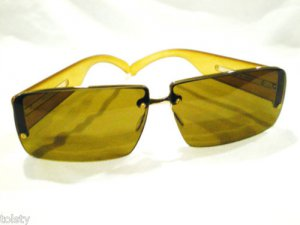 NEW PRADA RIMLESS GOLD BROWN  SUNGLASSES GREEN BROWN 100% UV  LENSES