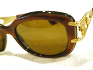 Vintage SUNGLASSES LINEA ROMA  EYEWEAR  HONEY DARK BROWN GOLD  MADE IN ITALY