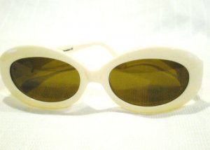 Vintage SUNGLASSES LINEA ROMA  EYEWEAR FASHION PEARL WHITE GOLD  MADE IN ITALY