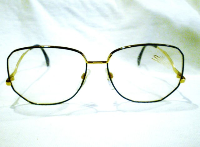 Vintage Silhouette Austria  Oversized EYEGLASSES BLUE GOLD UNIQUE 59-15-135
