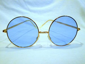 Vintage PERFECTLY ROUND  SUNGLASSES  GOOD FOR RX BLUE LENSES