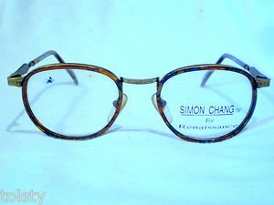 NEW EYEGLASSES  SIMON CHANG TORTOISE ANTIQUE GOLD  MOD.19 48-19-130