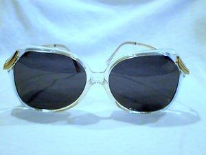 Vintage STARLINE DESIGN  Oversized Sunglasses CLEAR,IVORY, GOLD   55-15-130