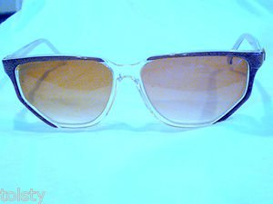 VINTAGE NINA RICCI PARIS SUNGLASSES BROWN GOLD CLEAR HAND MADE IN FRANCE