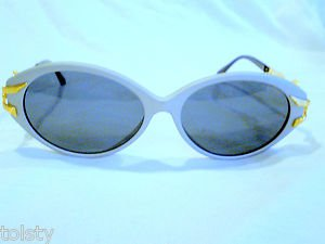 VINTAGE CAVIAR COLLECTION EXCLUSIVE  SUNGLASSES PEARL GRAY GOLD 55-16-135  ITALY