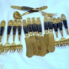 Vintage flatware set, Thailand, Rosewood and brass forks, knives 15 items