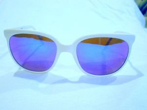 Vintage SUNGLASSES NYLON FRAME JAPAN WHITE  BLUE GRAY MIRROR LENSES