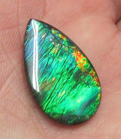 Huge Blue Green 24x14mm natural ammolite gemstone for Pendant