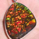 Amazing Grade AA freeform Dragon Skin ammolite ammonite 925 sterling silver pendant