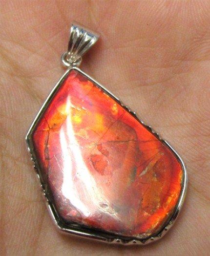 Masterpiece Red Color Grade A freeform ammolite ammonite Sterling Silver Pendant
