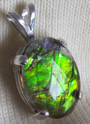 Lime Green freeform ammolite ammonite Sterling Silver Pendant