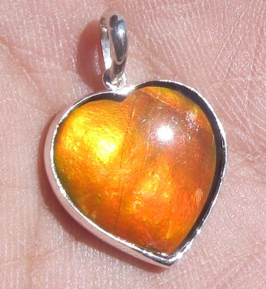 Grade A Gift Idea for your love one Canadian Ammolite Ammonite Heart Shape Silver Pendant