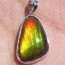 Grade A Lovely Ammolite Ammonite Gemstone in Pure 925 Silver Pendant Ready to Wear