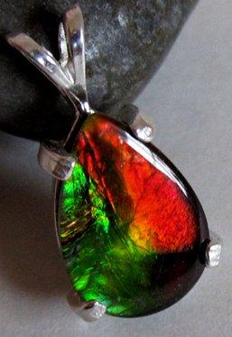 Grade A Rare amazing Pear Ammolite Ammonite Gemstone 925 Silver Pendant