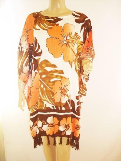 Kaftan Caftan Tunic Top Poncho Batik 5X-Hibiscus P101