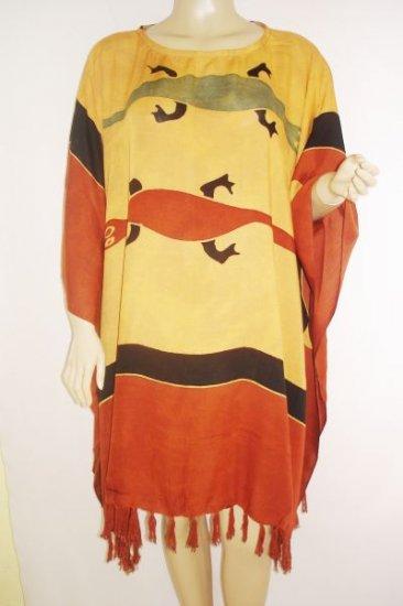 Kaftan Caftan Tunic Top Poncho Batik 5X-Gecko P057