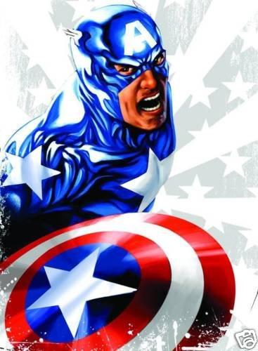 Captain America Star Man T-Shirt Size LG