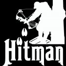 "(HNT1#148) 6"" white vinyl Hunting Hit Man deer hunter die cut decal sticker."