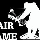"(HNT1#259) 6"" white vinyl Fair Game deer hunter die cut decal sticker."