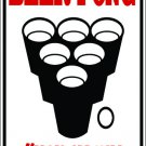 "MISC 1 Beer pong player aluminum novelty parking sign 9""x12"""