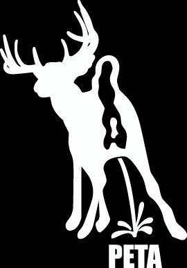 """(HNT1#26) 6"""" white vinyl deer pee on peta hunter die cut decal sticker."""