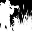 """(HNT1#74) 6"""" white vinyl Duck hunter siloutte hunter die cut decal sticker."""
