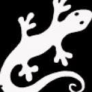 "(LIZ 245) 6"" white vinyl Lizard gecko climbing die cut window laptop decal sticker."
