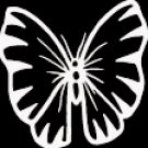"(BTR 3) 6"" white vinyl Butterfly die cut window laptop decal sticker."