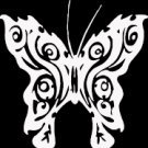 "(BTR 5) 6"" white vinyl Butterfly die cut window laptop decal sticker."